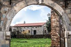 House through the arch. View of a house through an arch in Castrillo de los Polvazares, Leon, Spain Royalty Free Stock Image