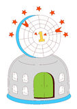House with archery targets. Illustration drawing of beautiful house with archery targets Stock Photography