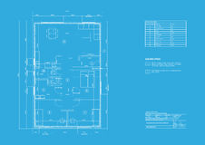 House on architect drawing. Topview of the cut residential house on architect drawing Stock Image