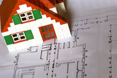 House on architect plan Stock Image