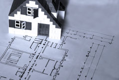 House on architect plan Stock Images