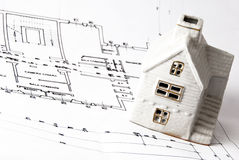 House on architect plans Royalty Free Stock Images