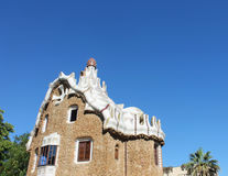 House with architectural detail in the Park Guell. Barcelona, Spain Royalty Free Stock Image