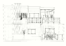 House architectural drawing Royalty Free Stock Photography