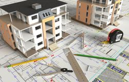 House Architectural Drawing And Layout Royalty Free Stock Photo