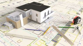 House Architectural Drawing And Layout Stock Images