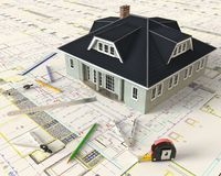 House Architectural Drawing And Layout Stock Photography