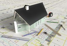House Architectural Drawing And Layout Stock Photos