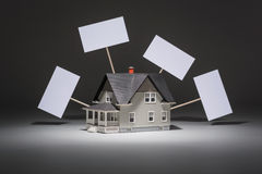 House architectural model on grey background Royalty Free Stock Photography
