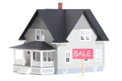 House architectural model with sale sign,  Royalty Free Stock Photo