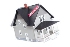 House architectural model with Sold sign,  Stock Images