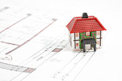 House architectural technical draw project. With house model stock photo