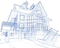 House - architecture blueprint. Architecture blueprint: house - technical draw royalty free illustration