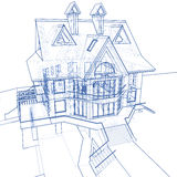 House - architecture blueprint. Architecture blueprint: house - technical draw stock illustration