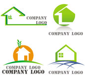 House, architecture, real estate green logos Royalty Free Stock Image