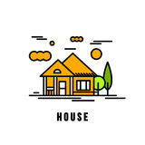 House architecture vector illustration. Village landscape with c Royalty Free Stock Image