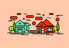 House architecture vector illustration. Village landscape with c Stock Photography