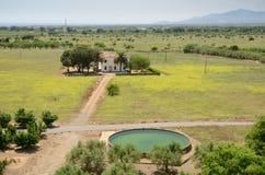 A house among the arid plain of Catalonia Stock Photos