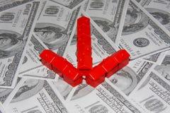 House arrow. Arrow build of houses on dollar bills Stock Photo