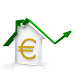 House with arrow. House with a green arrow up Royalty Free Stock Photo
