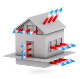 House with arrows of heat loss. 3d house with arrows of heat loss Stock Images