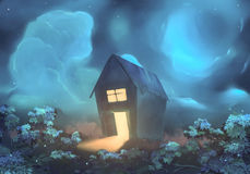House art. Drawing fantasy home on a night sky background Stock Image