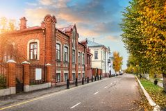 House in Art Nouveau style. House in the Art Nouveau style on the Volga embankment in the autumn Plyos early in the morning stock images