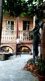 House of an artist, backyard with sculptures, Old Tbilisi, Georgia stock photo