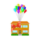 House as a gift tied Stock Photo