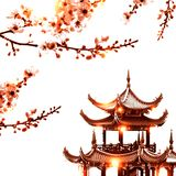 The house in the Asian style and flowering branches Stock Photo