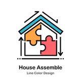 House Assemble Line Color Icon stock illustration