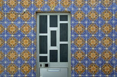 House Atalaia Portugal. A geometrically pleasing door of a colourful house found in Atalaia Stock Photography