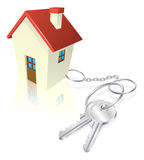 House attached to keys as keyring Royalty Free Stock Photography