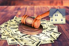 House Auction. Law Residential Structure Legal System Real Estate Gavel Bankruptcy Royalty Free Stock Photography