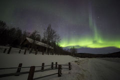 House, Aurora, night sky at alaska, fairbanks Royalty Free Stock Photos