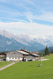 House in the Austrian alps. Houses in the middle of the Austrian alps in a clean summer day Stock Image