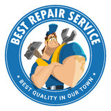 House auto car repair service tool shop store logo design. Modern professional creative 3d vector character graphic logo design for home house auto car repair Stock Photos