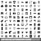 100 house automation icons set, simple style Royalty Free Stock Photos