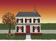 House in Autumn. Illustration scene of black and red house in autumn time Royalty Free Stock Images