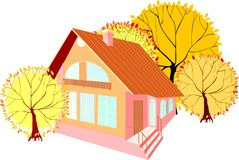 House with autumn trees Royalty Free Stock Photography