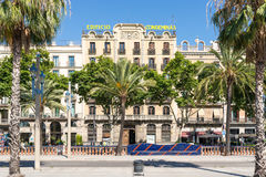 House at the Avenue Passeig de Colom in Barcelona Stock Image