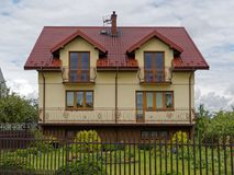 House away from the city. Peaceful sweet home. Far away from the city for comfotrable, healthy life stock photo