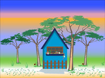 House background. With trees , flowers and nice sky Stock Image