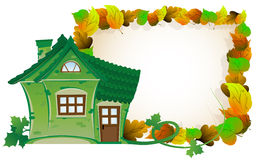 House on background of autumn leaves Royalty Free Stock Images