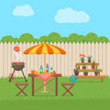 House backyard with grill. Stock Images