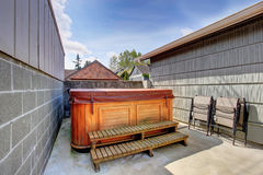 House backyard with jacuzzi Royalty Free Stock Image