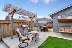 House backyard with patio area Stock Photos
