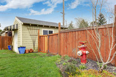 House backyard with shed Royalty Free Stock Photography