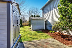 House backyard with small shed Stock Image