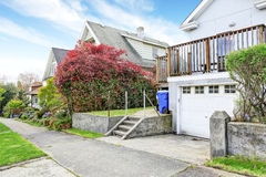 House backyrd with garage and driveway view Stock Photography